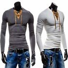 New Fashion Men's Casual Slim Fit Solid Color V-Neck Long Sleeve T-shirt Tops