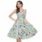 New Vtg 1950s 50s style Retro Hawaiian Floral Pin-Up Party Prom Dress