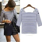 women 3/4 sleeve classic white and blue striped contrast T-shirt tops Navy Style