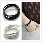 New Womens Mens Black Leather Interlaced Cuff Bangle Wristband Bracelet