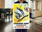 Vintage French 1954 Motorcycle Grand Prix Poster Reims 1950s Retro Biker Triumph