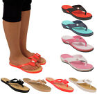 Ladies Diamante Bow Retro Jelly Sandals Flat Summer Beach Flip Flops Size 3-8