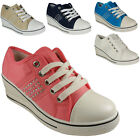 NEW WOMENS LADIES ANKLE LACE UP LOW HEEL WEDGE SHOES PUMPS BOOTS TRAINERS SIZE