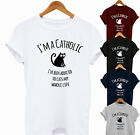 T-shirt Top Fashion Funny Cat Gift Crazy Lady Pet Cats Cute