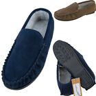 Mens Berber Fleece Lined Suede Moccasins / Sizes 6 - 12 UK / Navy, Taupe