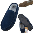 Mens Berber Fleece Lined Suede Moccasins - Sizes 6 - 12 UK - Navy, Taupe