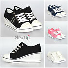 NEW Womens Low Top Jewel Detail Canvas Lace Up Wedge Heel Casual Trainers