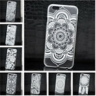 For iPhone 4/4S 5/5S 5C 6 6 Plus White Flower Henna Floral Matte Hard Case Cover