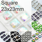 8pcs Glass Square 4675 23x23mm Mix Color Crystal Metal Claw Sew On Rhinestones