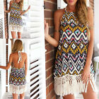 Fashion Women Sexy Ladies Cocktail Party Retro Tassels Halter Backless Dress