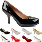 WOMENS MID HIGH STILETTO HEEL WORK BRIDAL PARTY LADIES PUMPS COURT SHOES SIZE