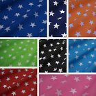 Printed Polycotton Fabric with White Stars - 8 Colours (Per Metre)
