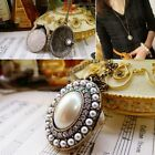 New Women's Bronze Clear Crystal Pearl Locket Pendant Long Chain Necklace 27.5''