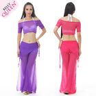 Newest Belly Dancing Costume 2pics Transparent Top Pants 24COLORS TO CHOOSE