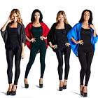 LADIES OPEN BATWING CARDIGAN SHAWL KIMONO SOFT FEEL CARDI BLACK BLUE RED GREY