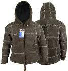 Brown Hippie Boho Retro Woolen Crus Hand Made Nepalese Warm Jacket Jumper Hoody