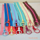 "10pcs Resin Zipper 20cm (7-7/8"") Metal Ring Puller Colorful Sewing Pouch Bag DIY"