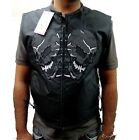MEN'S MOTORCYCLE MOTORBIKE TEXTILE REFLECTIVE SKULL W/ GUN POCKET VEST BLACK NEW