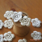 "5pcs: Little Flower Lace Applique 2.5cm (1"") Ivory & White Sewing Craft DIY"