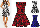 Ladies Girl Scuba Flock Floral Velour Mini Party Flared Skater Belted Dress 8-14