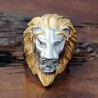 Men's Jewelry Gold Silver Lion 316L Stainless Steel Ring Size 7 8 9 10 11 12-15