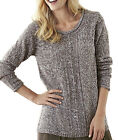 Plus Size UK  16 - 38 Ladies Long Sparkle Jumpers Roll Neck Cable Knit