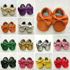 Soft Baby Infant Boy Girl Toddler Bow Sole PU Leather Shoes Moccasin 0-24 Months
