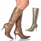 WOMENS LADIES LEOPARD MID HEEL POINTED FANCY DRESS ZIP UP SLIM CALF BOOTS SIZE