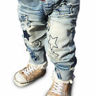 Kids Unisex Cool Number / Star Elastic Waist Slim Fit Denim Jeans 6M-5Years
