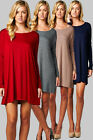 LONG SLEEVE SOLID COLORS LOOSE FIT RAYON KNIT SOFT SILKY MINI TUNIC DRESS S M L