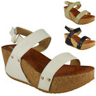 WOMENS LADIES PLATFORM VELCRO MID HEEL CORK SUMMER WEDGES SHOES SANDALS SIZE 3-8