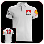 T-SHIRT POLO WHITE MCLAREN MP4 SENNA FORMULA 1 CAR OLD MOTOR FASHION