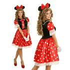 Womens Minnie Mouse Costume Fancy Dress Halloween Party Outfit & Ears Headband