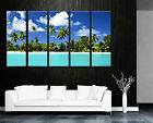 Palm Trees/Seascape ready 2 hang 5 panel wall canvas mounted/surpassed stretched