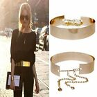 Women Ladies Golden bling Gold Plate Buckle Wide Slim Thin Waist Belt Metal
