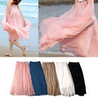 MON - Elastic Waistband Women Chiffon Pleated Retro Vintage Maxi Long Skirt