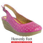 Heavenly Feet Ealing 2 Slingback Sandals Faux Leather Wedges Size 3 4 5 6 6.5 7