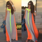 New Womens Ladies Boho Sexy Summer Beach Evening Party Long Chiffon Dress