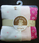 NWT Child Mine Carters Baby Girl 3pc BURP CLOTH Terry Pink MONKEY/STRIPE/FLOWER