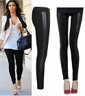 New Womens Celebrity Inspired Wetlook PVC PU Side Panel Stretchy Leggings 8-14
