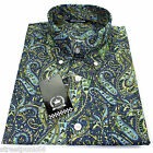 Relco Mens Blue Sky Green Paisley Long Sleeved Button Down Shirt Mod Skin 60s