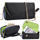 "Women's Universal Faux Leather Crossbody Wristlet Wallet for 4.5"" - 5.5"" Phones"