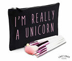 I'm Really A Unicorn Slogan Makeup Bag Case Canvas Zip Make Up Funny Gift Clutch