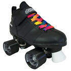 Black or White Chicago Bullet Quad Speed Roller Skates with Rainbow Laces