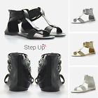 NEW Womens Open Toe Ankle Strap Flat Holiday Summer Sandals Gladiators Shoes