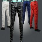 Fashion Mens PU Leather Slack Trousers Luxury Stylish Slim Fit Colorful Pants