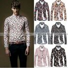 Fashion Mens Luxury Casual Floral Long Sleeve T-Shirts Slim Fit Dress Shirts