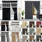 LUXURY DAMASK FLOCKED EYELET CURTAINS WITH RING TOP FULLY LINED INC TIE BACKS