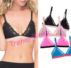 Floral Lace Triangle Bralette Bra Color Block Sheer Lined Hook Mesh Lacey Crop