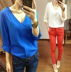 Women's V Neck Trendy Metal Rivet Shoulder Chiffon Autumn Tops T Shirts Blouse